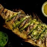 """Keep Looking"" Whole Roasted Black Bass with Beet Greens Salsa"