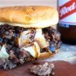 """A Place Called Fantasy"" Braised Beef Neck Bones Sandwich with Caramelized Onions and Beer Sauce"