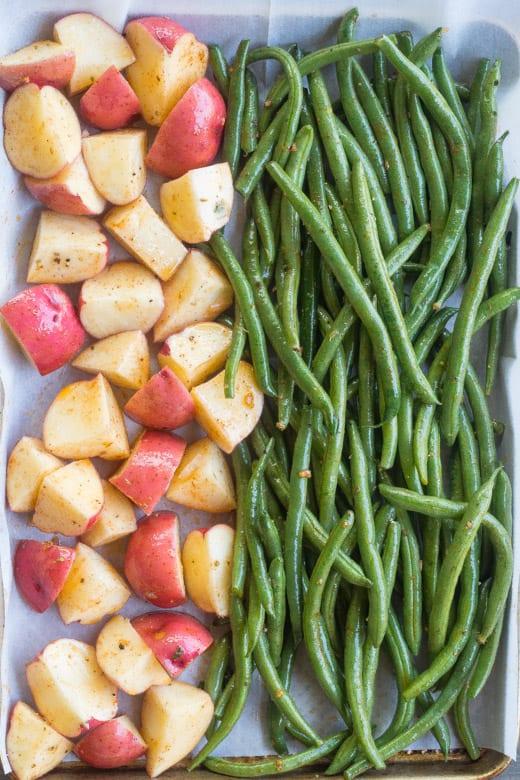 sheet pan potatoes and green beans