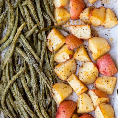 """I Believe In You"" Lemon Garlic Sheet Pan Green Beans and New Potatoes"