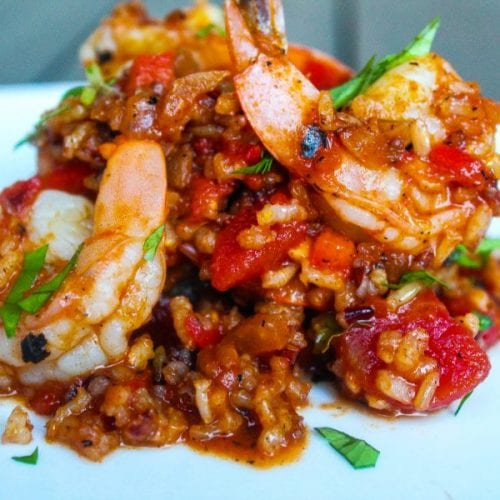 """Low Down"" Simple and Tasty Red Rice with Jumbo Shrimp"