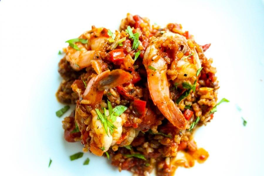 Red Rice recipe with jumbo shrimp