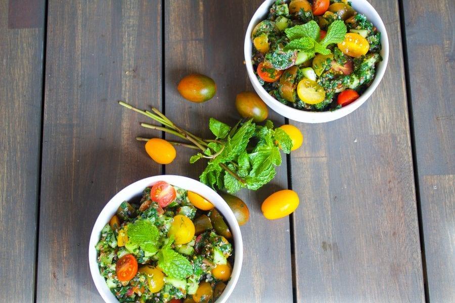 quinoa Tabbouleh salad in bowls