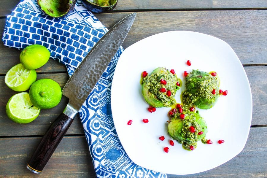 Stuffed Avocados with pumpkin seed pesto