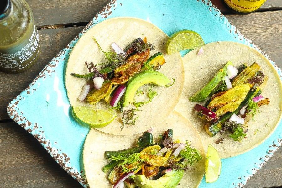 vegan zucchini squash blossom tacos