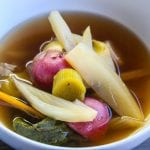 Fennel, Leeks, and new potatoes poached in smokey ginger and lemongrass infused broth