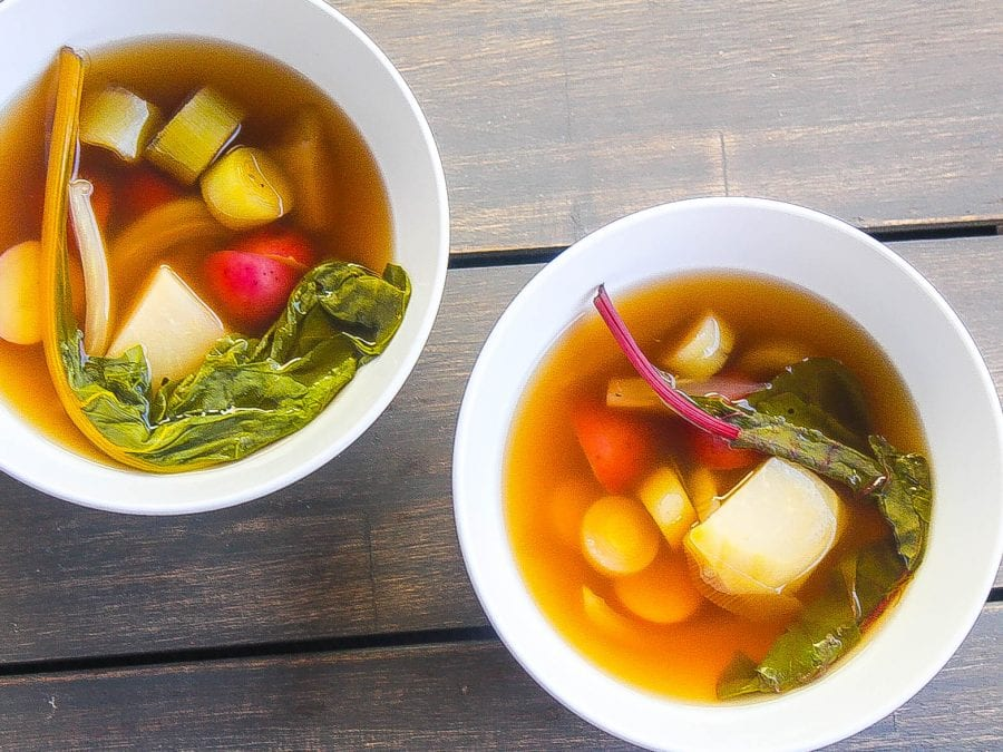 garden vegetable soup in bowls
