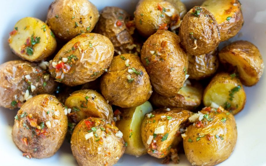 Roasted mini Potatoes with Chili Lime Sauce