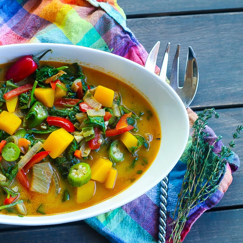 bowl of caribbean callaloo soup