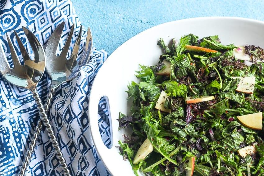mustard greens salad www.foodfidelity.com #mustardgreens #greens #salad