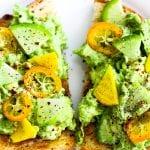 avocado toast topped with beets, radish, and kumquats #avocado #toast www.foodfidelity.com