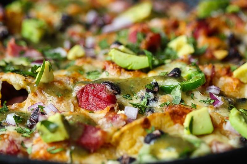 pork nachos with ham hocks in a skillet #nachos #appetizer www.foodfidelity.com