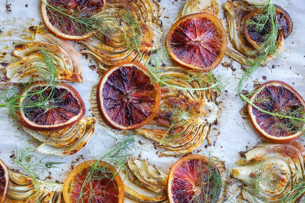 braised fennel topped with citrus