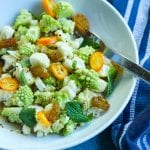romanesco broccoli and cauliflower salad in a white bowl #broccoli #cauliflower www.foodfidelity.com