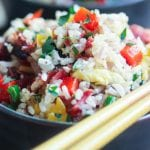 smoked brisket and coconut fried rice in a bowl