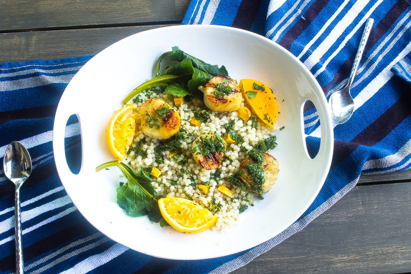 grpearl couscous topped with salsa verde
