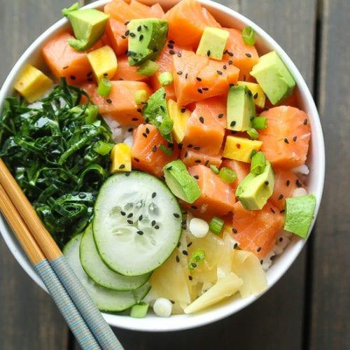 """""""High Rollers"""" Salmon Poke Bowl with Collard Green """"Seaweed"""" Salad"""