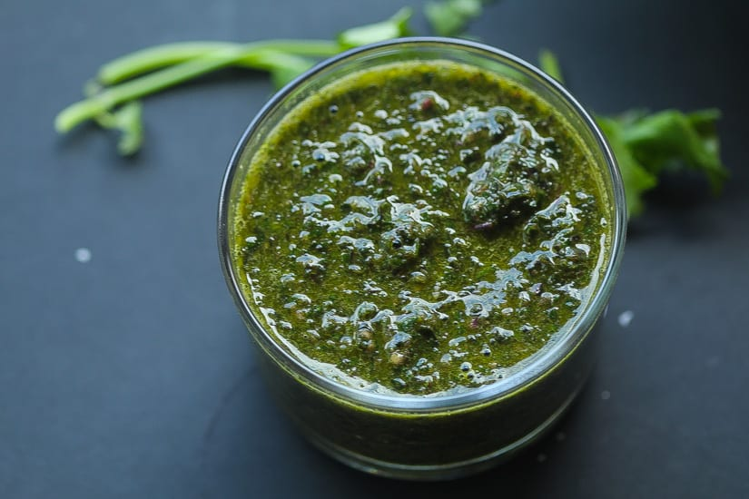 israeli chimichurri (zhug) in a small bowl