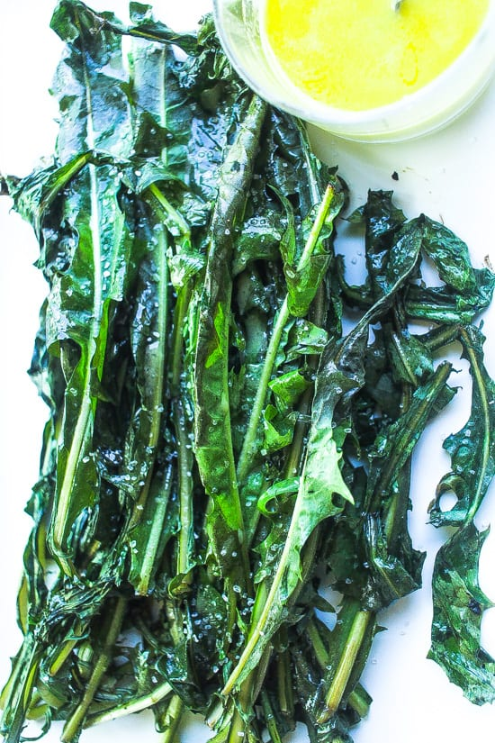 grilled bitter greens on a platter