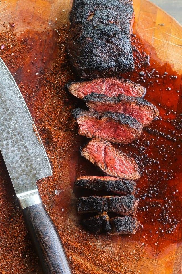 coffee rubbed hanger steak