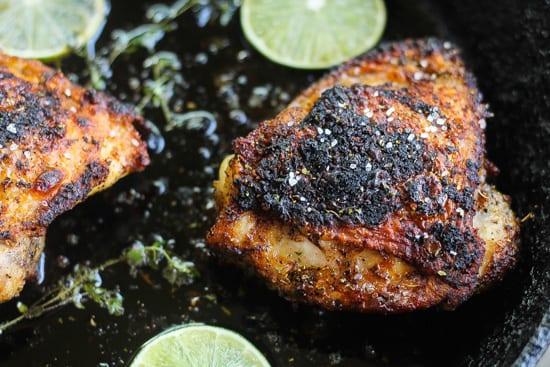Jerk Chicken Thighs in a pan