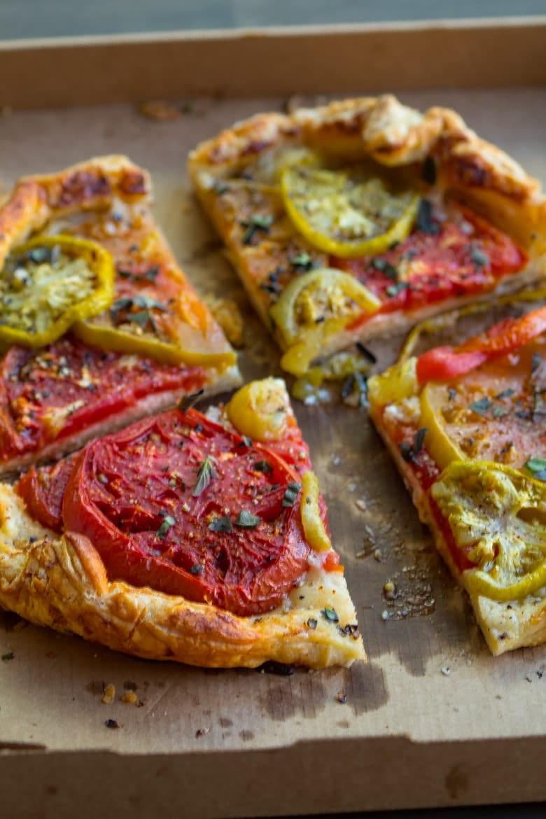 Heirloom tomato galette in a pizza box