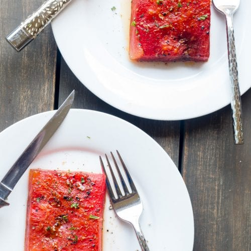 """We Gettin Down"" Roasted watermelon steak"
