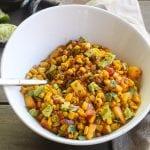 southwestern corn saute in a white bowl
