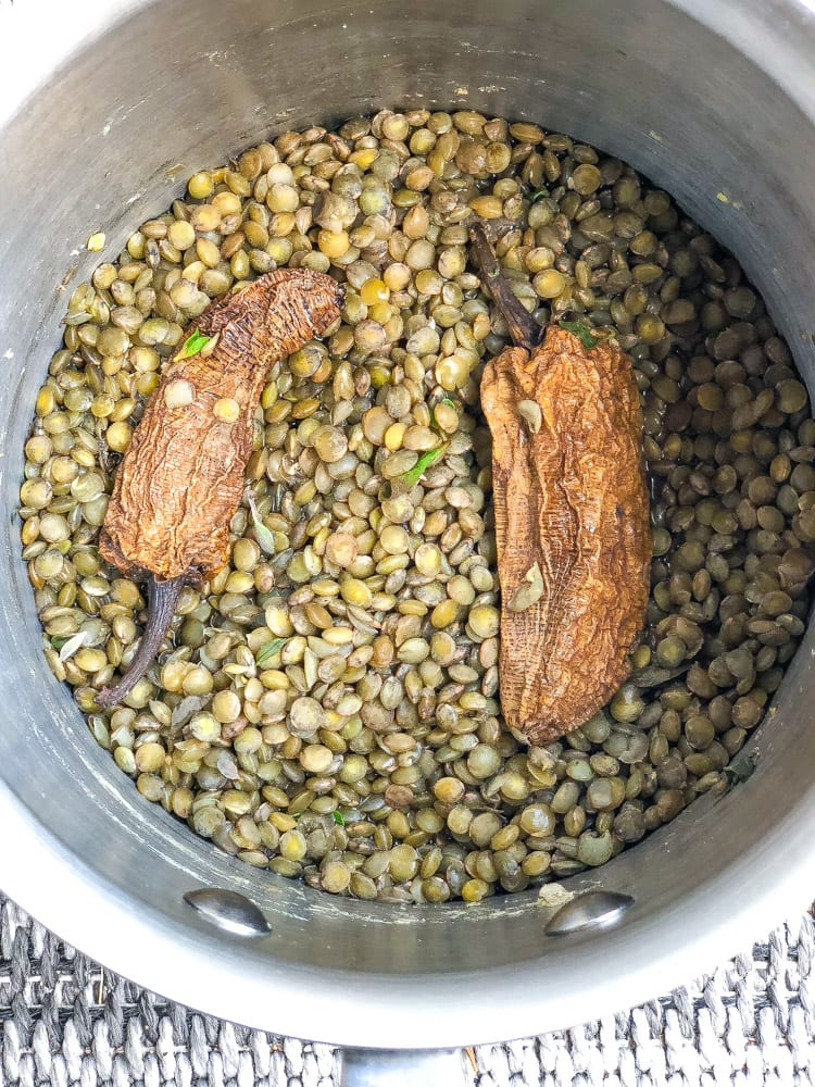 perfectly cooked lentils in chipotle infused broth