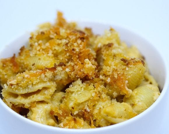 Baked mac and cheese in a bowl