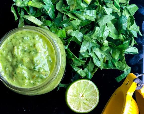 healthy collard greens recipe for salsa verde in a large jar
