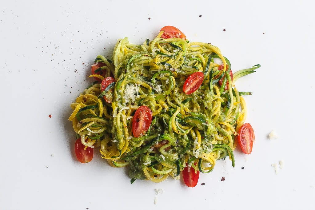 zucchini noodles on white plate