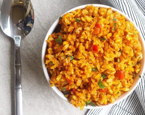 Jollof rice in a bowl