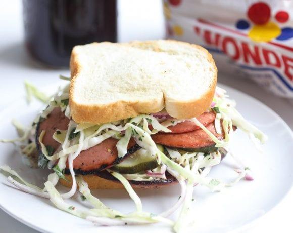 fried bologna sandwich with slaw