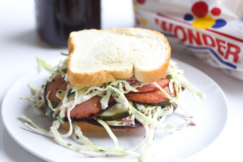 fried bologna sandwich with slaw