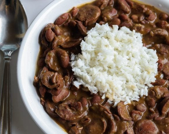 easy red beans and rice in a bowl