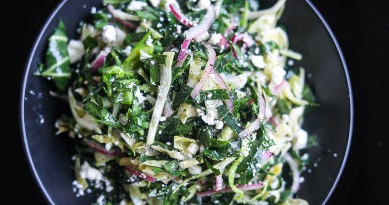 collard greens slaw in a bowl