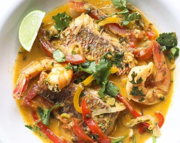 brazilian fish stew (moqueca baiana) in a bowl