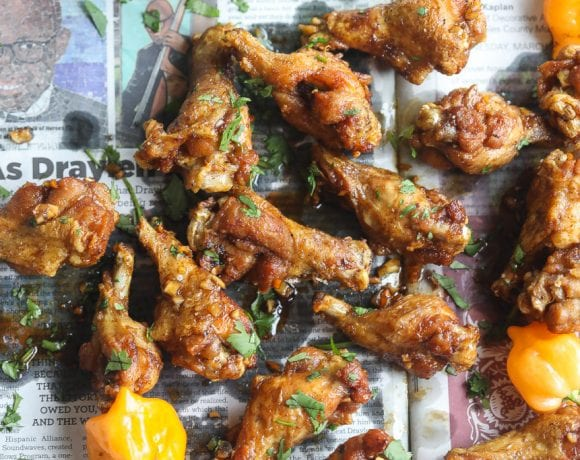 sticky Asian Jerk chicken wings