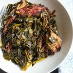 """Slow Wine"" Instant Pot Collard Greens with Smoked Brisket"