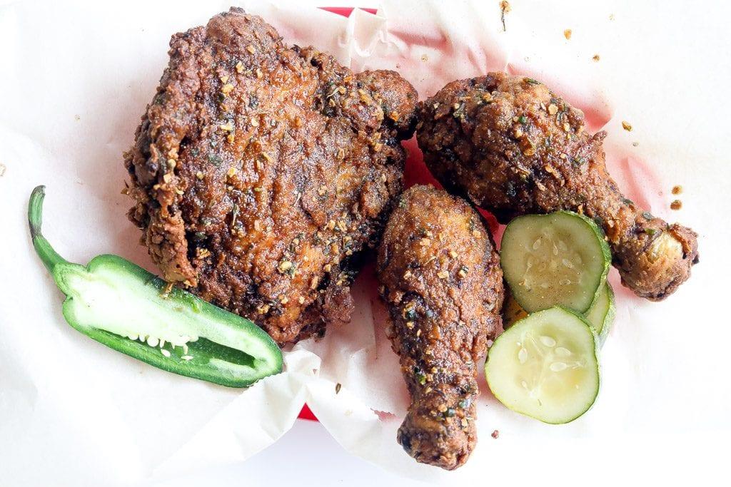 spicy jerk fried chicken in a basket