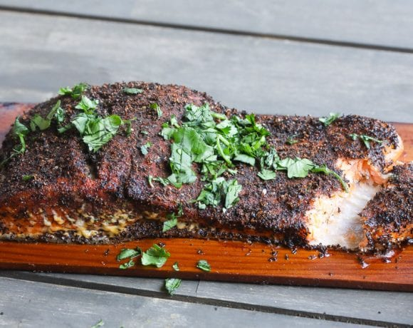 lapsang tea rubbed cedar plank salmon