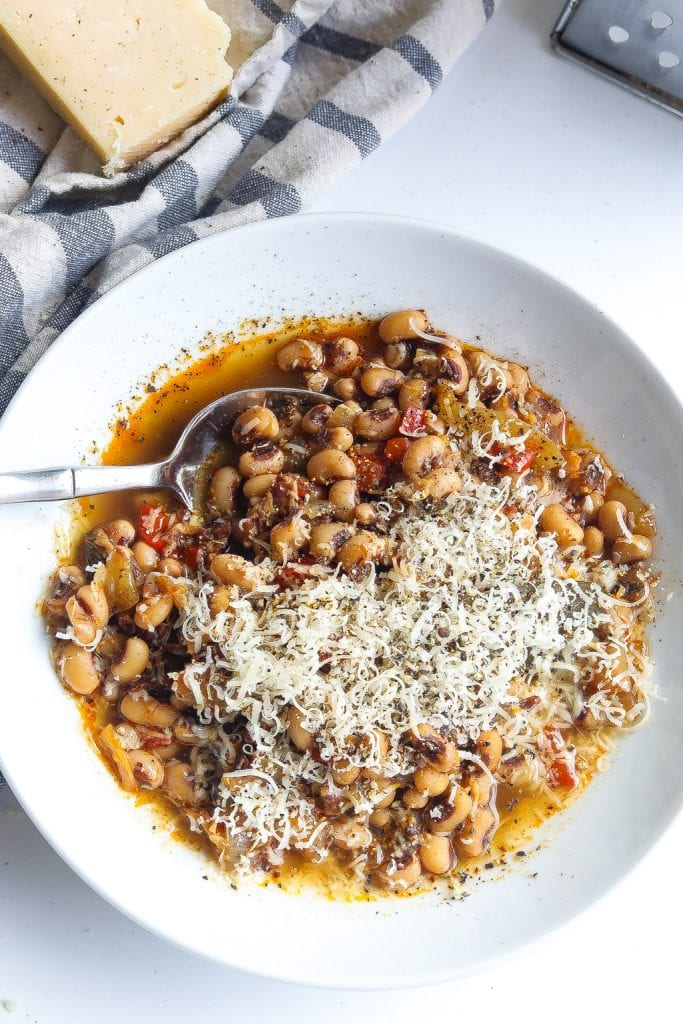 instant pot black eyed peas topped with cacio e pepe